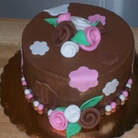 Birthday Cake Chocolate cake with chocolate icing, fondant accents