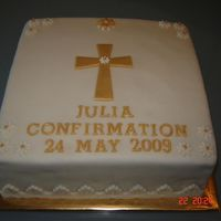 Confirmation Cake   Chocolate cake covered in a combination of sugarpaste/marzipan.