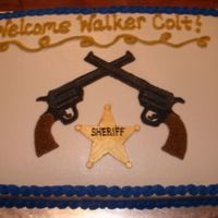Boy Baby Shower This was a baby shower cake for a little boy whose dad is a police officer. They also wanted a western vibe. Badge is MMF painted with gold...