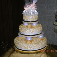 Ivory Cake At The Reception Site! This was the finished product after setup!