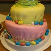 Easter Topsy Turvy This is just a simply decorated topsy turvy cake that I made at Easter. It is decorated with pastel fondant, candy eggs, and edible grass...