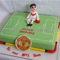 Soccer Cake   For a kiddie who plays goalie for his team and supports Man'U.