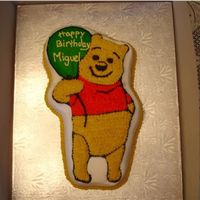 Pooh Pooh made with wilton pan. Chocolate cake with bc frosting. still need to work on my writing....lol. Thanks for looking.