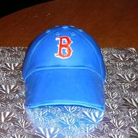 "Boston Red Sox Cake sports ball pan with gumpaste brim. fondant for thr ""B"""