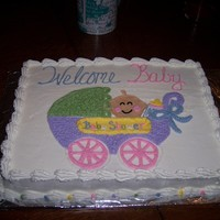 Baby In Stroller Sheet cake with freehand from invitation picture drawn on cake. TFL!