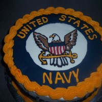 Navy Farewell Cake for sailor called back up after returning home. Freehanded design on cake off an image found on the web, then found out it wasn't...