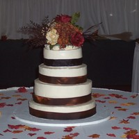 Justin And Kim's Wedding Fall wedding; basic flavors - white, chocolate and yellow - no fillings. TFL