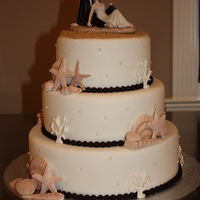 Sandy Beach Wedding Cake