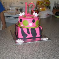 Hot Pink With Black Leopard Stripes  This was a super fun cake to do! This was for a young lady who turned 13.my only mistake is I should have connected the green border in the...