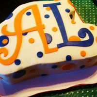 Double Initial Cake for young lady who celebrated turning 18! She is an Auburn fan and her HS colors are also orange and blue. Used 'Curlz' font to...