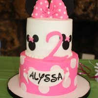 Minnie Mouse Minnie Mouse cake inspired by cake made by robsolano. Two tiered cake with mouse ears (cut craft foam sheet due to travel distance),...