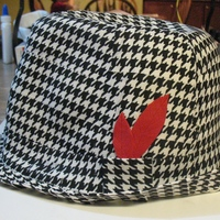 "3D Bear Bryant Hat Cake Red velvet cake with cream cheese icing-started at 2-9"" round and 1-8"" round cakes. Covered in fondant then in houndstooth edible..."