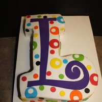 'l' Monogram Cake Inspired by the 'A' monogram cake by conkam. Used the curlz font to make template and cut from a 9 x 13 sheet cake. TFL!!