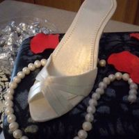 1St Time Shoe Box And Other Accessories fondant covered shoe box cake, gp shoe to match the actual bride's shoe, pearl necklace (from Earlene's pearl instructions), red...