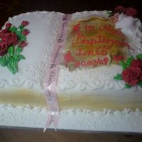 Christening   This cake was decorated based on a photo that client had , was fondant decorate , and Buttercream roses