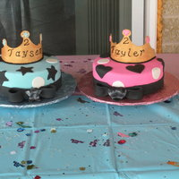 Twins 2Nd Bday Cakes  My best friend has fraternal twins and wanted separate cakes for them. Fondant with gumpaste crowns. The blue one is lemon cake with lemon...