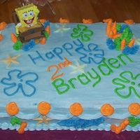 Sponge Bob Birthday All decorations but starfish are buttercream. The starfish are fondant. Chocolate with raspberry filling.