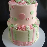 "Pink & Green Baby Shower IMBC frosted 6"" and 8"". Top tier is banana with dulce de leche and coconut bc, bottom tier is white chocolate raspberry. Cute..."