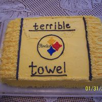 Steeler Cake Had trouble with the terrible, had to redo it and messed up the top of the cake. Yea Steelers!!!!