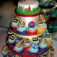 Yo Gabba Gabba Cupcake Tower For my twin nephews.