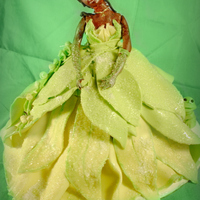 Princess And The Frog Green Dress made out of fondant, everything is edible enjoy