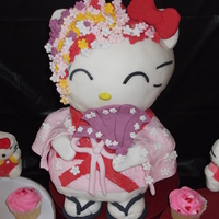 Kimono Hello Kitty made out of cake and rice krispies coveredin fondant !!!! enjoy thank you for looking