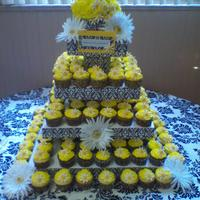 Daisy & Damask Cupcake Stand This was a stand I made for a First Communion. Made the stand from styrofoam squares and all cupcakes were bc w/gumpaste daisies.