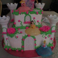 Princess Castle Cake Both tiers tres leches, with peach and strawberry filling. Iced in whipped cream. Used Wilton castle set, but just used 4 turrets. Only...