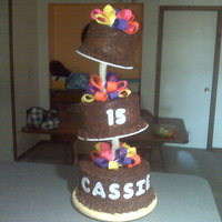 Cassie Birthday Cake made w/ topsy turvy cake stand my coworker made.
