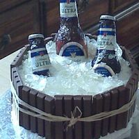 Michelob Beer Cake Cake w/ sugar bottles, sugar ice. The new latex I used to make the mold was terrible so the bottles didn't turn out as well as I...