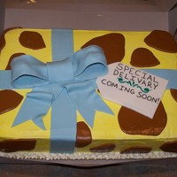 Giraffe Pattern Cake This cake was for a baby shower. The theme was an animal theme. Its IMBC with fondant spots and bow. If you couldn't guess, it's...