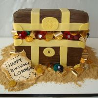 Pirate's Treasure Chest For my son's 5th birthday. Chocolate pound cake with chocolate BC. Fondant accents. Candy treasure and graham wafer/brown sugar mix...