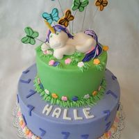 "Fairy Tale Unicorn 10"" and 6"" stacked cakes in BC with MMF accents. MAde to match party supplies. Not happy with the butterflies, but oh well the..."