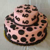 40Th Birthday My first stacked cake. Pink buttercream with black fondant polka dots and 40's. Black buttercream beads.