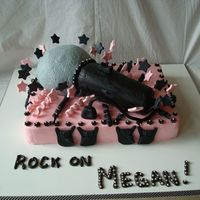 Rock Star Birthday Cake Vanilla poundcake sheet cake. Chocolate poundcake microphone. Frosted in pink, black and gray buttercream with fondant stars, streamers,...