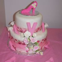 Birthday Cake For Friend I made this cake for a friend's 40th birthday. She loves shoes. This is my first time using fondant and doing a stacked cake. The cake...