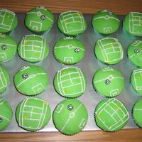 Cupcakes - Soccer And Tennis Decorated with MMF and royal icing.