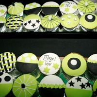 Lime, Black, White Cupcakes Made for a Barmitzvah