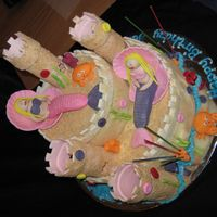 Mermaid Sandcastle Choc cake inside, all made with MMF, 'sand' is cruched biscuits