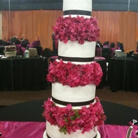 Four-Tier Fuschia, Black And White Wedding This cake was huge and so much fun to make. Although the picture makes it look as if it is leaning, it was actually straight. I guess it...