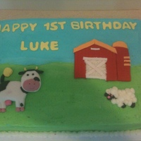 Farm Birthday Cake   1/4 inch cake covered in buttercream with fondant and buttercream figures.