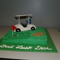 Golf Cart Made this for a co-workers retirement. Lesson learned - mix, mix and mix icing - otherwise you get varying colors in the same batch. Ugh!