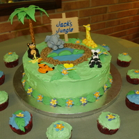 Jack's Jungle Baby shower cake with a jungle theme. Transported it to NC. What an experience. Fondant and southern heat are a challenge for this...