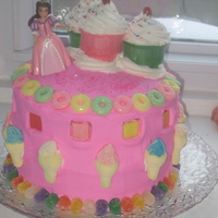 Rainbow Princess this was a request for a rainbow princess cake. inside is rainbow colored cake,outside butter cream and candy pieces