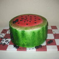 Watermelon Cake For July 4Th Picnic Got inspired by other cakes like these on cake central! Thanks for all the sharing of ideas! This is all buttercream. I used a checkered...