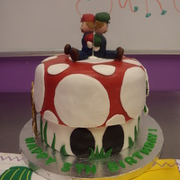 Mario Brothers Cake Mario Brothers mushroom cake made out of two layer 8 in cake and two layer 9 in cake pan for the top. WASC cake with chocolate mousse...