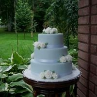 1St Wedding Cake Light blue fondant with white fondant roses.