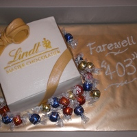 "Lindt Chocolate Box AKA ""Le King Crap"" because I was really unhappy with the end result. Box is cake, bow is fondant, truffles are real. Penmanship..."