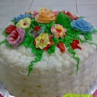 Flower Garden Cake Many kind of BC flower as the topper of this Steam Brownies.