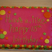 Neon Polka Dots 2 Here is the companion to the orange 80s theme cake. 1/4 sheet all buttercream